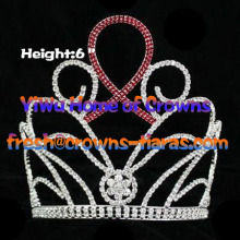 6inch Red Ribbon Crystal Pageant Crowns