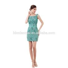 Green laced beaded short evening dress elegant cheap prom dress 2017