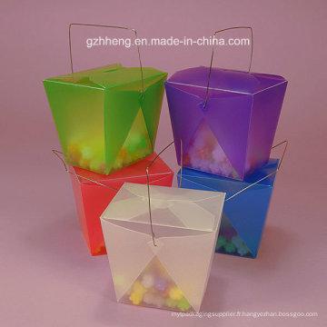 Boîte cadeau en plastique de haute qualité avec poignée (coussinet en PVC)