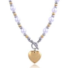 Moda Nuevo Diseño de la Cadena de Oro de la Muchacha de Acero Bola de Corazón Collar de Perlas Joyería de Traje