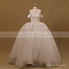 Princesse Sweet Heart Cap Sleeve Robe de bal Robe de mariée en perles de dentelle