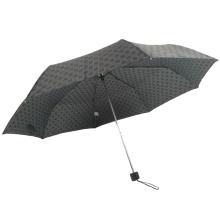 3 folding promotional metal stand waterproof polyester black umbrella
