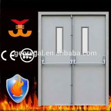 Puerta doble de emergencia de acero con barra antipánico
