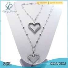 High Quality Fashion women 35mm Crystal Silver Glass 316L stainless steel floating heart lockets bracelet&Necklace Jewelry Set