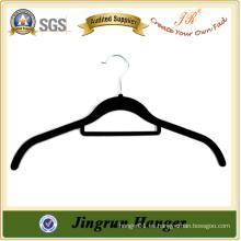 Percha plástica negra del terciopelo de la alta calidad para la camisa