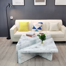 Marble Texture white glass coffee table