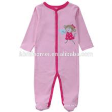 2017 moda invierno color rosa manga larga con capucha bebé mameluco chica con precio al por mayor