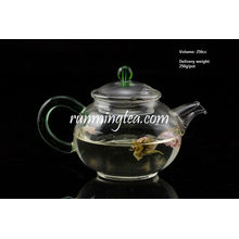 250cc Egg Shape Borosilicate Glass Tea Pot with Jade Handle, Stainless Steel Insert Spout
