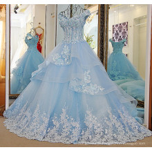 RP33870 Real boned glass beads lace designer wedding gowns sexy low back pleated layered organza tulle wedding dress