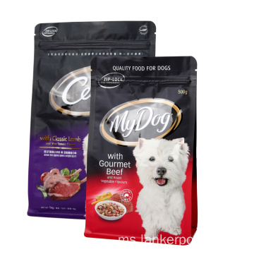 Plastik Flat Bottom Zipper Bag For Pet Food