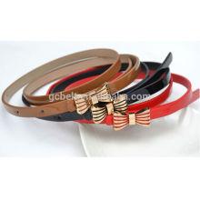 kids Fashion bow buckle PU waist belt