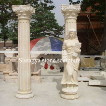 Surface Statue Beige Marble Stone Sculpture Column (SY-C020)