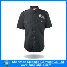 Camisa de manga corta negra personalizada de hombre de fábrica de camisa para el trabajo