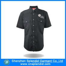 Camisa de manga curta de fábrica de camisa personalizada homem preto para o trabalho