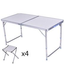 Mesa de piquenique de alumínio dobrável ao ar livre e cadeiras / conjuntos de mesa de acampamento portátil