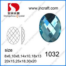 Pierre de verre ovale en vrac Dz-1032 de qualité supérieure pour sacs