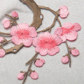 Violet Cherry Blossom Flowers Embroidered Patch