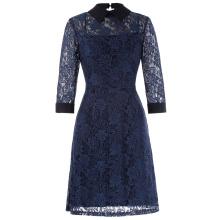Kate Kasin 3/4 Sleeve Point Collar Open Back 2pcs Set Floral Navy Blue Lace A-Line Dress KK000484-1