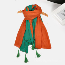 Hot selling scarf women hijab personality double color splicing scarves cotton tassel scarf
