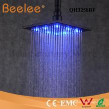 Self Powered LED Shower Head Square Matte Black Bathroom Rainfall Top Shower Head