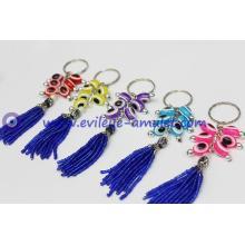 Greece multicolor oval evil eye keychain, multicolor resin evil eye beads
