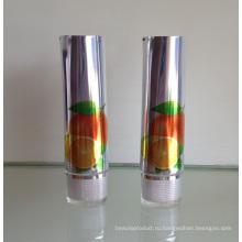 Сверкающих алюминиевые трубки Косметическая упаковка с акриловой овальной крышкой