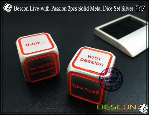 Bescon Live-with-Passion 2pcs Solid Metal Dice Set Silver-3