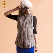 Серый стиль Вязаный жилет с кроличьими кустами с обрезкой енотового меха и кисточкой Быстрая доставка