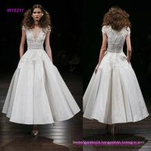 Silk Faille Tea Length Wedding Dress with Embroidered Peplum Bodice