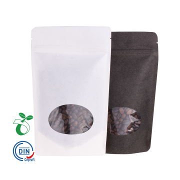 Bolsa compostable biodegradable de papel negro con ventana transparente