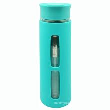 Двойной стенкой стеклянной бутылке 380 мл с Сетчатый фильтр, силиконовый рукав