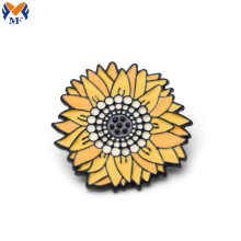 Metal enamel sunflower pin for backpack bag