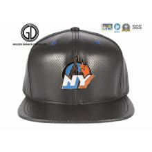 2016 mode nouveau style cuir PU Snapback Cap avec logo emblème en métal