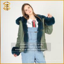 Vente en cours d'usine Real Fox Women Jacket Manteau d'hiver Fur Parka