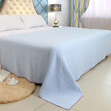 High End Jacquard Bloempatroon Blue Blanket