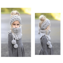 Children new design manual series knitted acrylic hat and neck warmer