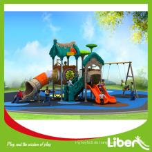 China Credit Supplier Preschool Outdoor Spielplatz Plastik Slides und Swing, Lustige Spielplatz Plastic Slides mit Swing