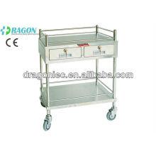 Chariot de traitement DW-TT207 avec chariot médical à deux tiroirs en acier inoxydable