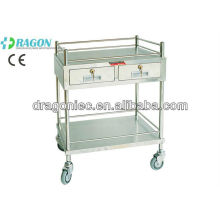 DW-TT207 treatment trolley with two drawers stainless steel trolley medical cart