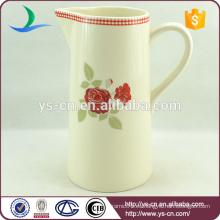 YSj0004-01 Flor roja flor de diseño jarra de baño de cerámica