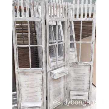 Shabby Green Folding 3 Panel Screen Room Divider for garden