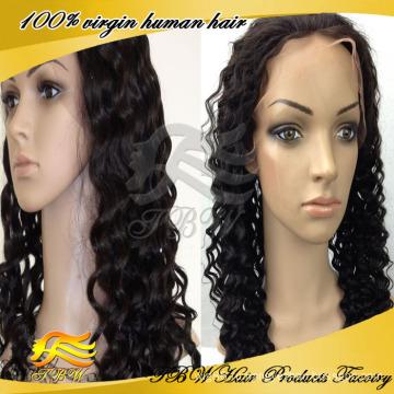 Перуанский Девы волос глубокая скручиваемость кружева перед парик человеческих волос парики