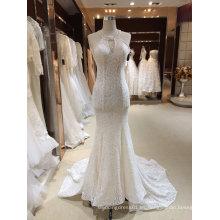 Halter sirena ver a través de vestido de novia