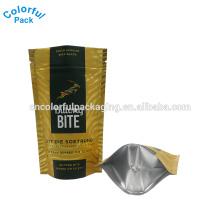 Embalagem de alimentos folha de alumínio stand up bag com zíper para pacote de biscoito