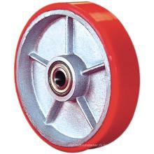 PU sur roue simple en fonte - rouge (5505560)