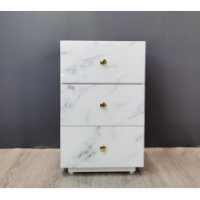 Marbled glass bedside table with 3 drawers