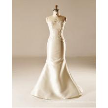 Meerjungfrau Satin bodenlangen trägerlosen Brautkleid
