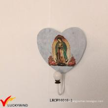Single Shabby Chic Wooden Wall Heart Hook