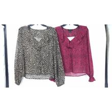 Ladies' Lurex Leopard Print Long Sleeve Blouse