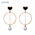 Tình yêu trái tim Faux Trân Dangle Earrings Hoop